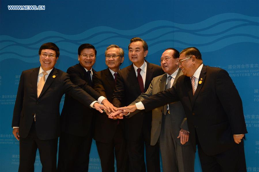 Senior foreign affairs officials from Lancang-Mekong countries at the 1st Lancang-Mekong Cooperation (LMC) foreign ministers' meeting (from news.cn)
